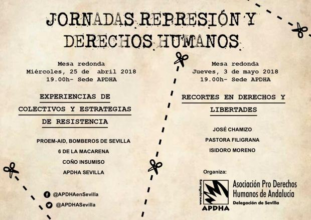 Cartel Jornadas Represión y DD HH abril y mayo 2018 Sevilla APDHA